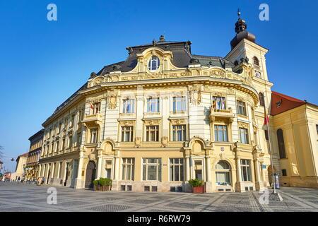Rathaus in großen Platz, Sibiu, Siebenbürgen, Rumänien. Stockbild
