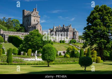 Drummond Castle von den Gärten, Perthshire, Schottland, Großbritannien, Europa Stockbild