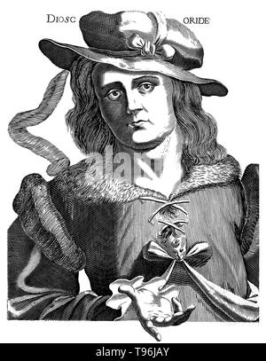 Pedanius Dioscorides (ca. 40 - 90 v. Chr.) war ein griechischer Arzt, Pharmakologe und Botaniker. Er praktizierte in Rom in der Zeit von Nero. Er war ein Chirurg mit der Armee des Kaisers, so hatte er die Möglichkeit, viel zu reisen, auf der Suche nach Arzneimittel (Pflanzen und Mineralien) aus der ganzen Römischen und Griechischen Welt. Er ist der Autor von De Materia Medica, eine Enzyklopädie über pflanzliche Arzneimittel und Arzneimittel, die sich stark für mehr als 1.500 Jahre gelesen wurde. Stockbild