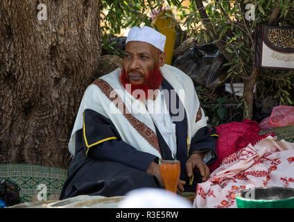 Imam mit roten Bart kauen Khat während eines Sufi Feier, Harari Region, Harar, Äthiopien Stockbild