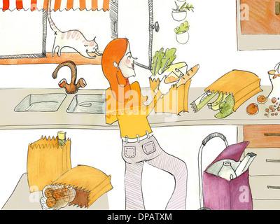 Ein Aquarell einer Frau Auspacken Lebensmittel in ihrer Küche Stockbild