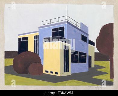 Design für ein freistehendes Haus, 1923. In der Sammlung des Bauhaus Archiv Berlin gefunden. Stockbild