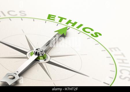 Kompass mit Nadel zeigt das Wort Ethik. Konzeptionelle 3d Darstellung der geschäftlicher Integrität und Stockbild