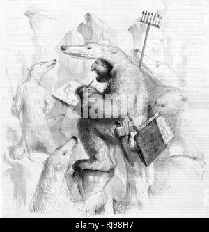 AUGUSTE FRANCOIS BIARD Französische Maler von Landschaften und Tieren, dargestellt, gekleidet wie ein Eisbär näher an sein Thema zu erhalten... Stockbild
