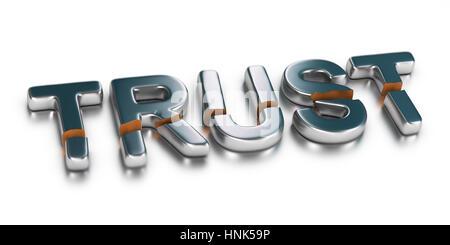 3D Illustration das Wort vertrauen auf weißem Hintergrund, Geschäftskonzept von nicht vertrauenswürdigen Stockbild