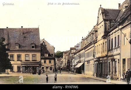 Gebäude in Grimma, Markt (Grimma), 1915, Landkreis Leipzig, Grimma, Blick in die Brückenstraße, Deutschland Stockbild