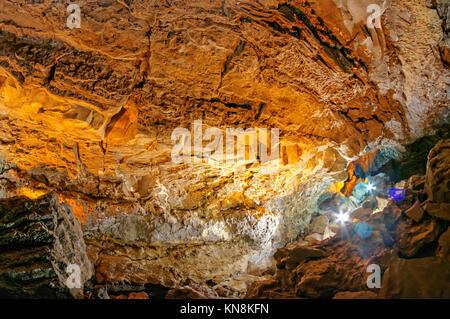 La Cueva de los Verdes, Lanzarote, Kanarische Inseln, Spanien Stockbild
