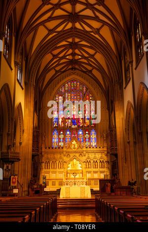 Innenraum der historischen Dreifaltigkeitskirche (b. 1790). Alexander Hamilton war ein Mitglied. Manhattan, New York City, USA Stockbild