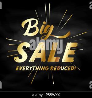 Verkauf Hintergrund mit gold Wording auf schiefertafel Textur Stockbild