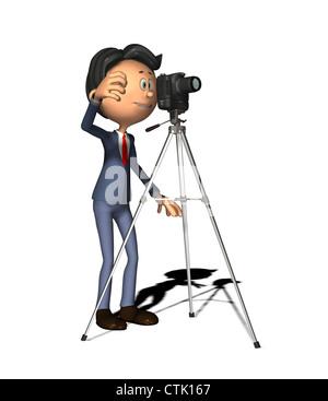 Cartoon Figur Fotograf mit DSLR-Kamera auf einem Stativ Stockbild