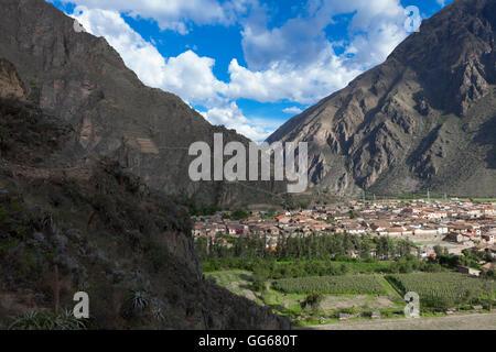 Geographie / Reisen, Peru, Cusco, Ollantaytambo, Anden, Cusco, Heiliges Tal, Ollantaytambo, Dorf Ollantaytambo und Stockbild