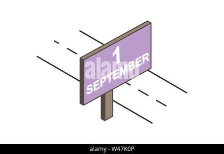 Plakat mit der Aufschrift am 1. September. Plakat an der Straße und einfache Zeichnung Stockbild