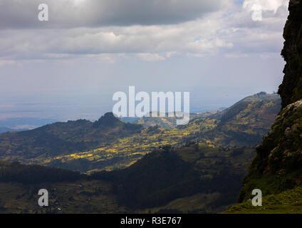 Meneliks Fenster Landschaft, Amhara-region, Debre Sina, Äthiopien Stockbild
