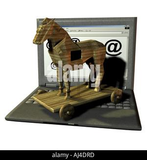 Trojanische Pferde aus dem web Stockbild