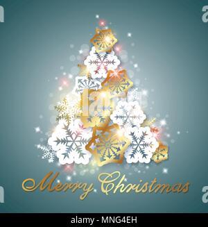 Grüne Weihnachten Hintergrund mit goldenen und weißen Schneeflocken. Dekorativer Weihnachtsbaum aus Schneeflocken. Stockbild
