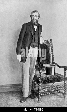 Portrait von Russell Wallace bald nach seiner Rückkehr aus dem Osten. Alfred Russel Wallace (8. Januar 1823 - November 7, 1913) war ein Walisischer Naturwissenschaftler, Explorer, Geograph, Ethnologe und Biologe. Er ist am besten für unabhängig, eine Theorie der Evolution durch natürliche Selektion, dass Charles Darwin seine eigene Theorie zu veröffentlichen. Stockbild