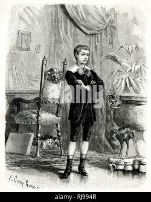Französische Junge trägt eine Samt Anzug aus Knickerbocker, Jacke am Hals befestigt und öffnen Sie eine Weste zu offenbaren, weiß, Kragen und große Bogen, Socken & hochhackige Stiefel. Stockbild