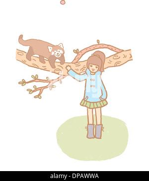 Ein Mädchen stand in der Nähe eines Baumes, dem ein Waschbär auf geht Stockbild