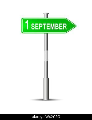 Schild mit der Inschrift am 1. September. Ein blaues Schild mit der Aufschrift 1. September auf der Pole. Stockbild