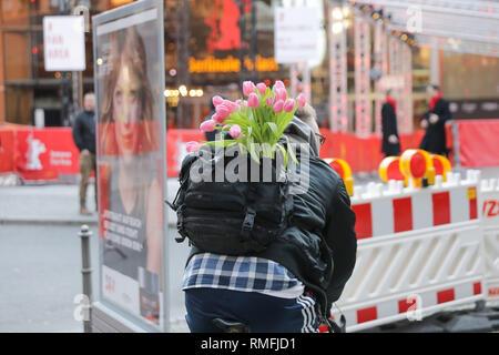 Berlin, Deutschland. 15 Feb, 2019. Ein Radfahrer transportiert einen Blumenstrauß aus Tulpen in einem Rucksack in Wetter im Frühling. Quelle: Jörg Carstensen/dpa/Alamy leben Nachrichten Stockbild