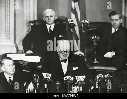 Premierminister Winston Churchill spricht in einer gemeinsamen Sitzung des Kongresses, 26. Dezember 1941. Weniger Stockbild