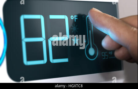Finger berühren eines digitalen Thermostat Temperaturregler es auf 82 Grad Fahrenheit angezeigt werden. Composite Stockbild