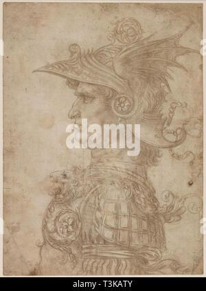 Eine Büste eines Kriegers im Profil nach links, 1475-1480. In der Sammlung des British Museum gefunden. Stockbild