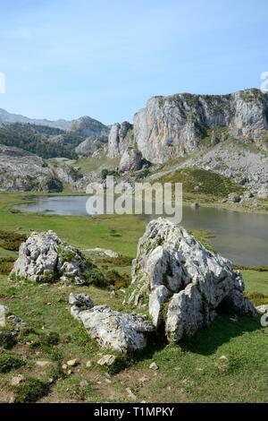 Überblick über See Ercina, Seen von Covadonga, Picos de Europa, Asturien, Spanien, August 2016. Stockbild