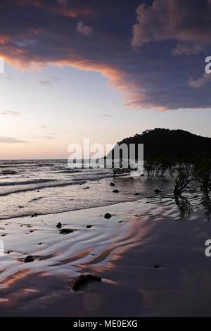 Silhouette der Küste Küste und Strand in Cape Tribulation bei Sonnenaufgang im Daintree National Park, Australien Stockbild