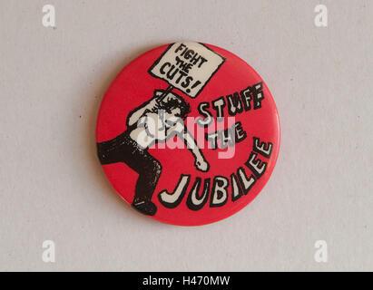 Zeug des Jubilee-Kampfes schneidet sozialistischen Werke Party SWP Protest auf Kosten des Jubiläums. 1977. Stockbild