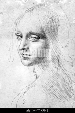 Bildende Kunst, Leonardo da Vinci (1452 - 1519), Zeichnung, Studie für die Engel der Madonna in der Felsengrotte, nach 1483, Königliche Bibliothek, Turin, Artist's Urheberrecht nicht geklärt zu werden. Stockbild