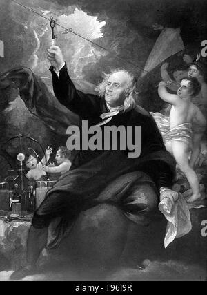 Benjamin Franklin mit seinem Drachen im Hintergrund. Benjamin Franklin (Januar 17, 1706 - April 17, 1790) war einer der Gründerväter der Vereinigten Staaten. Er war ein Thema, Drucker, politische Theoretiker, Politiker, postmaster, Wissenschaftler, Musiker, Erfinder, Satiriker, Civic Aktivist, Staatsmann und Diplomat. Als Wissenschaftler war er eine wichtige Figur in der amerikanischen Aufklärung und die Geschichte der Physik für seine Entdeckungen und Theorien in Bezug auf Elektrizität. Stockbild