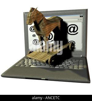 Gefahr der Infektion durch ein Trojanisches Pferd Pferde und Computervirus über das Internet Stockbild