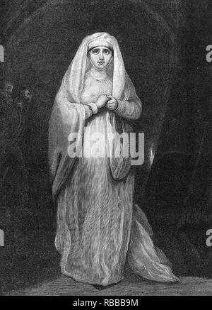 SARAH SIDDONS (1755-1831) die Walisische Schauspielerin als Lady Macbeth in 1785 Stockbild