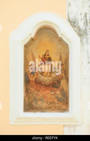 Presicce, Apulien, Italien - einem alten religiösen Zeichnung in den Straßen von Presicce Stockbild