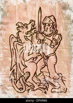 Ein Ritter und Drachen kämpfen Stockbild
