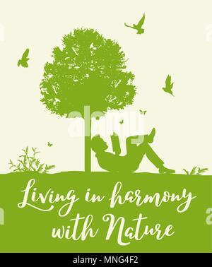 Landschaft mit grünen Bäumen, Vögel und Menschen, ein Buch zu lesen. Konzept der Leben in Harmonie mit der Natur. Stockbild
