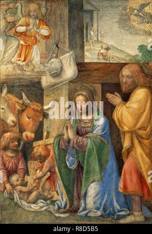 Geburt Christi und Verkündigung an die Hirten, die zwischen 1500 und 1550. In der Sammlung von Mus Gefundenée du Louvre, Paris. Stockbild
