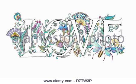 """Das Wort """"Liebe"""" mit Blumen dekoriert Stockbild"""