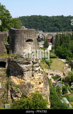 Festung Turm Bockfelsen, der Stadt Luxemburg, Luxemburg, Europa ich Festungsturm Bockfelsen, Luxemburg-Stadt, Luxemburg, Europa I Stockbild