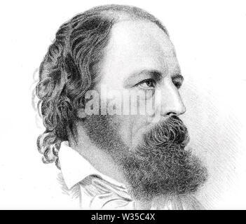 ALFRED TENNYSON (1809-1892), englischer Dichter Stockbild