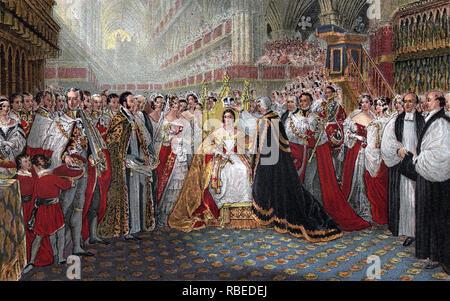 Krönung von Königin Victoria in der Westminster Abbey, London, Donnerstag, 28. Juni, 1838 Stockbild
