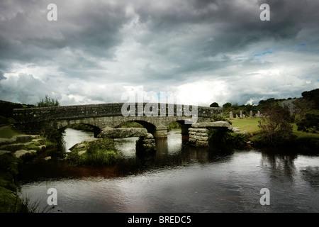 Brücke auf Dartmoor Stockbild