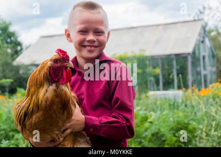 Kaukasische boy Holding Hahn auf dem Bauernhof Stockbild