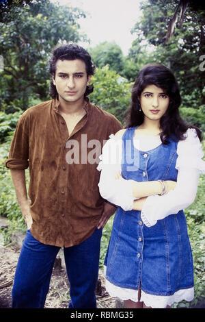 Portrait von Saif Ali Khan und Twinkle Khanna, Indien, Asien Stockbild