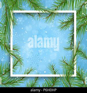 Weihnachten Hintergrund mit weißen Rahmen und Fir Tree Branches Stockbild