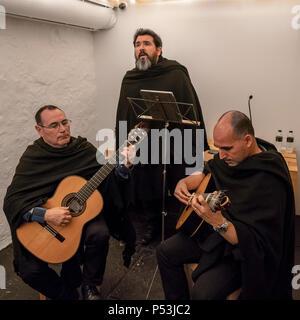 Berühmte Buchhandlung Lello, Fado Leistung, Trio, Porto Portugal Stockbild