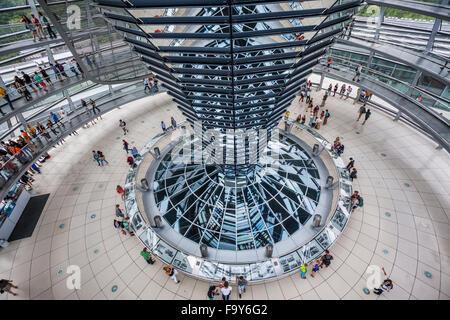 Deutschland, Berlin, Reichstagsgebäude, Innenansicht des Glas-Kuppel von Norman Foster entworfen mit Doppel Stockbild