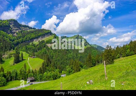 Berglandschaft in den Schweizer Alpen in der Nähe von Urnäsch und Schwägalp, Kanton Appenzell Ausserrhoden, Schweiz. Stockbild