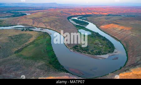 Biegung der Green River unter Jenson, Utah Stockbild